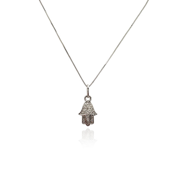 Diamond Iced-Out Hamsa Pendant Necklace (14K) New York Popular Jewelry