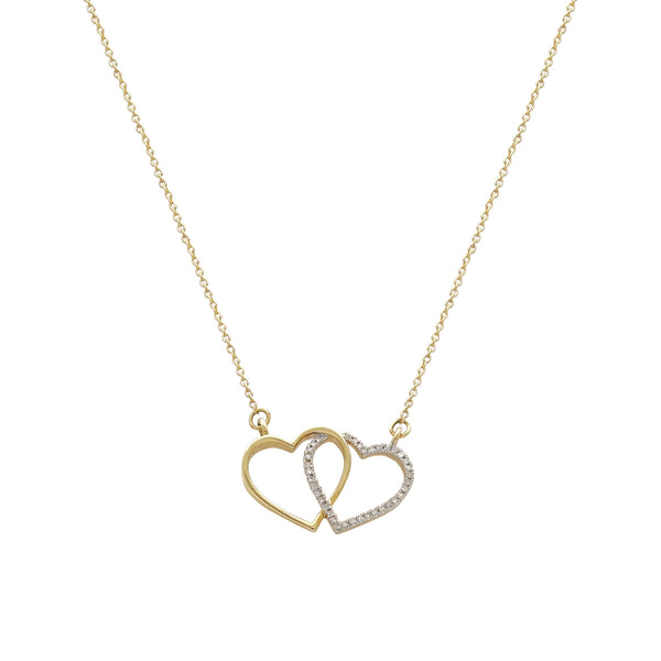 Diamond interlocked heart ketting (14K) Popular Jewelry New York
