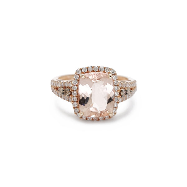 Diamond & Morganite Halo Radiant Mhete (14K) Popular Jewelry New York
