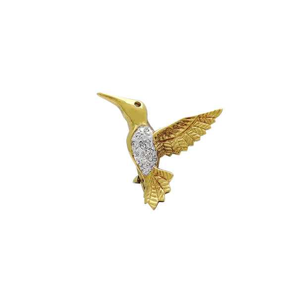 Diamond Red Tailed Comet (Sappho Sparganurus) Brooch Pin (14K) Popular Jewelry New York