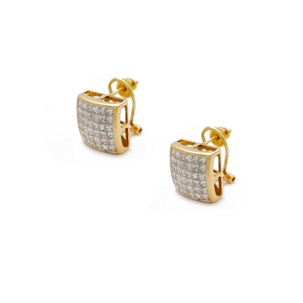 Diamonds Square Concave Stud Earrings (14K) Popular Jewelry Nûyork