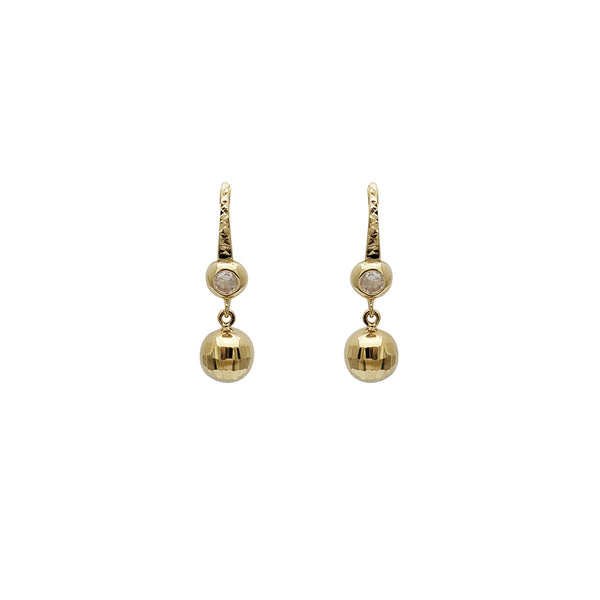 Disco Ball Hanging CZ Earrings (14K)