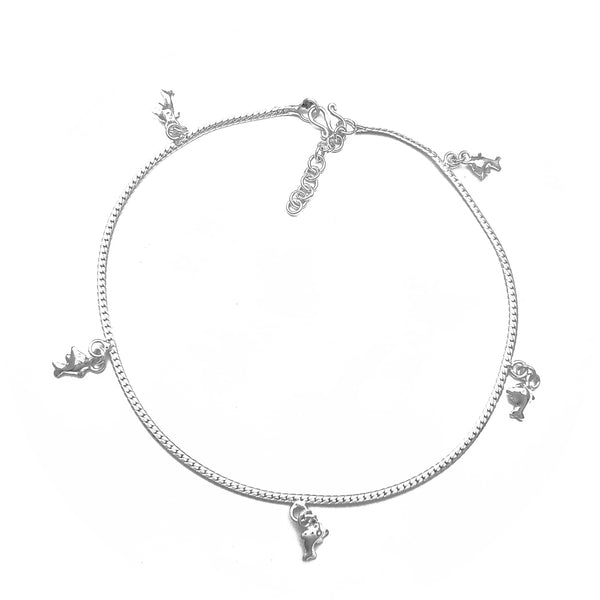 Dolphin Charms Anklet (Silver)