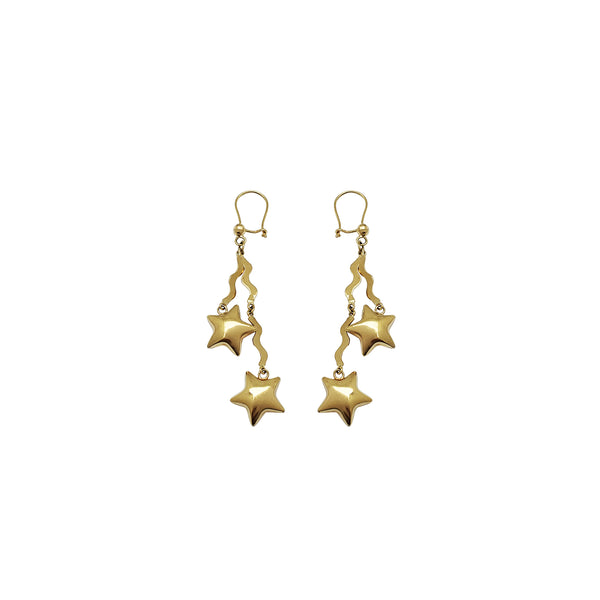 Double Stars & Streamers Dangling Earrings (14K)