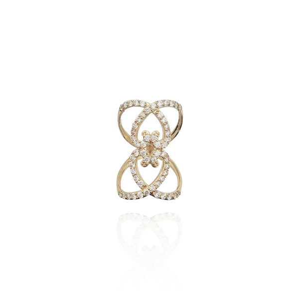 Stoneset Orbiting Heart Long Finger Ring (14K)