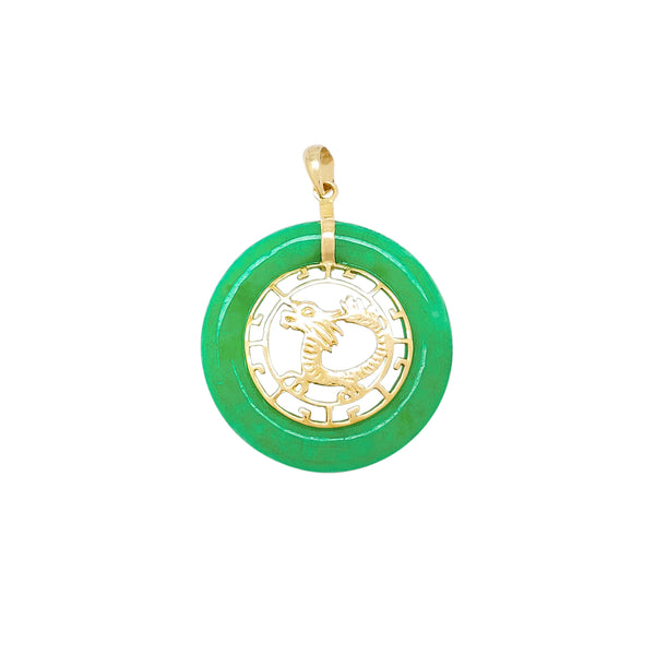 Dragon Round Jade Pendant (14K) Popular Jewelry New York