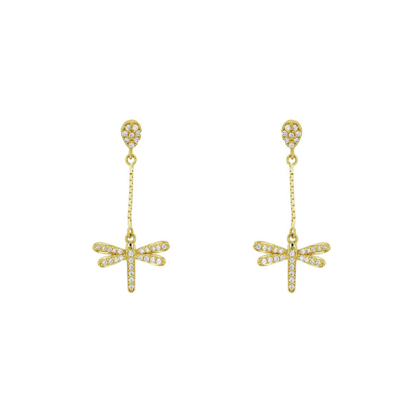 Zirconia Dragonfly Stud Dangling Earrings (14K) Popular Jewelry New York