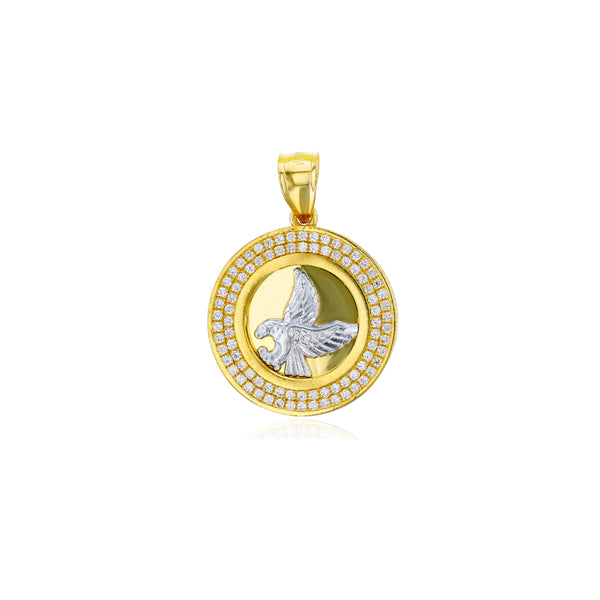 Yellow Gold Micropave Frame Eagle Circle Pendant (14K)