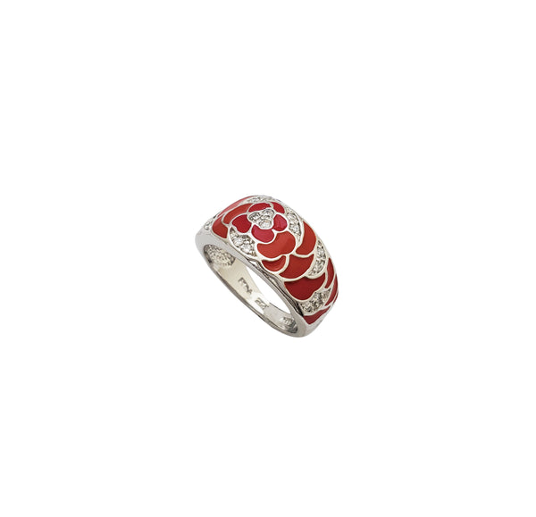 Red Enamel Band (Silver)