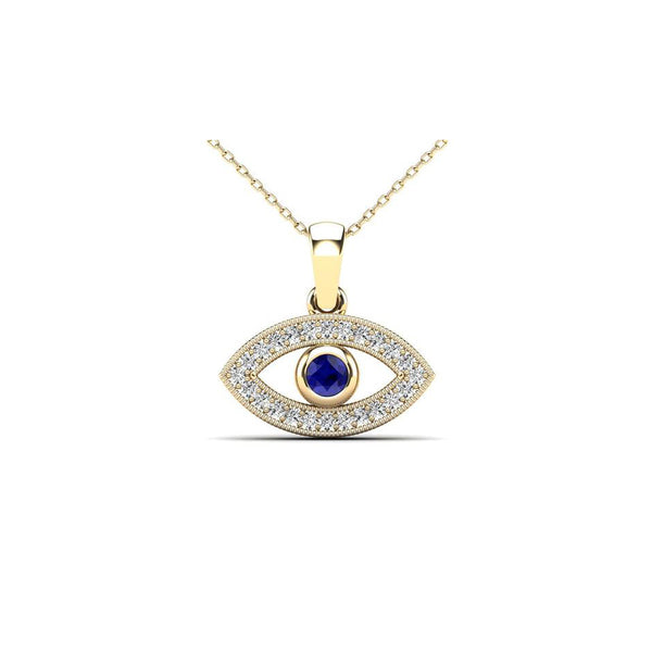 Blue Diamond Evil Eye Pendant (14K)