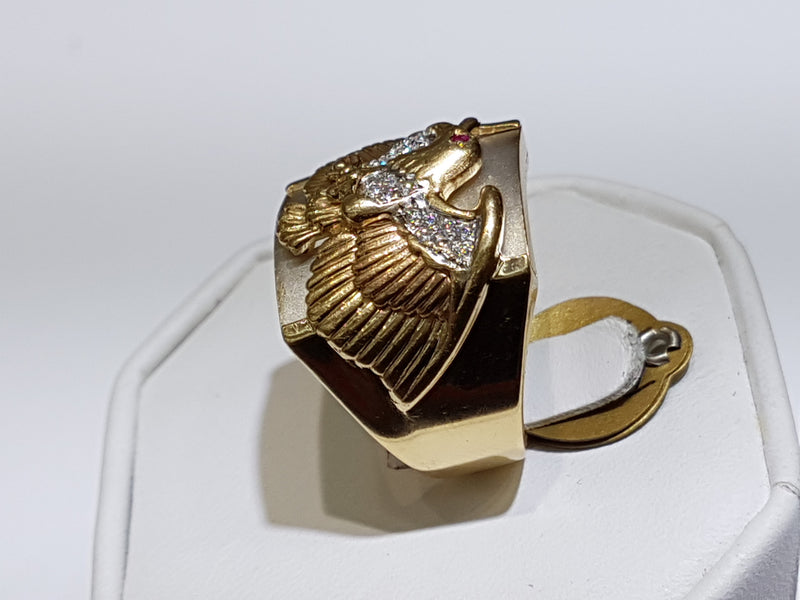 Tricolor Eagle Men's Ring 14K - Popular Jewelry