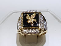Eagle Onyx Men Ring 14K - Lucky Diamond 恆福 珠寶 金 行 New York City 169 Canal Street 10013 Bitxigintza Playboi Charlie Chinatown @luckydiamondny 2124311180
