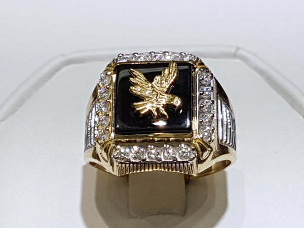 Eagle Onyx Men's Ring 14K - Lucky Diamond 恆福珠寶金行 New York City 169 Canal Street 10013 Jewelry store Playboi Charlie Chinatown @luckydiamondny 2124311180