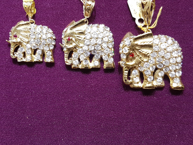 Iced-Out Elephant Pendant 10K - Popular Jewelry