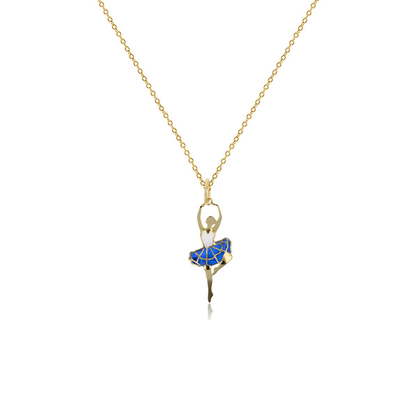Enameled-Blue Skirt Dancing Ballerina Fancy Necklace (14K) Popular Jewelry New York