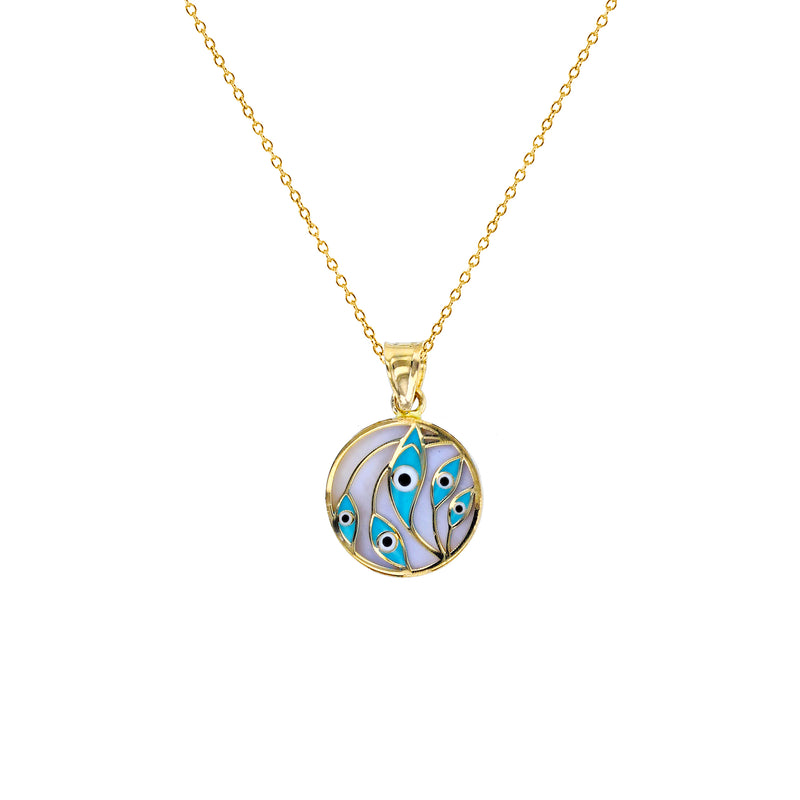 Enameled-Evil Eye Leaves Medallion Fancy Necklace (14K) Popular Jewelry New York
