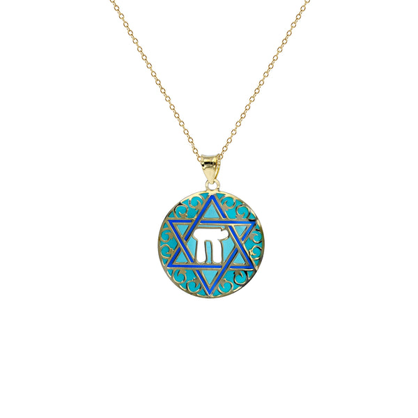 Enameled-Star of David Fancy Necklace (14K) Popular Jewelry New York
