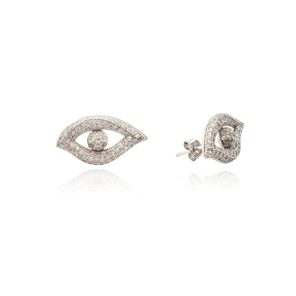 Evil Eyes Stud Earrings (Silver) Popular Jewelry New York