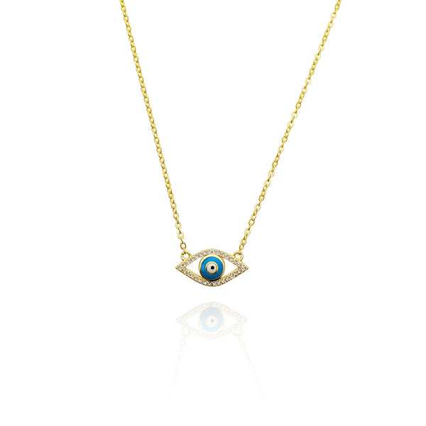 Evil Eye CZ Necklace (Silver)