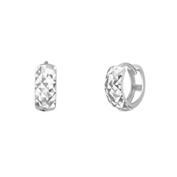 Faceted-Cuts Huggie Earrings (14K) Popular Jewelry New York