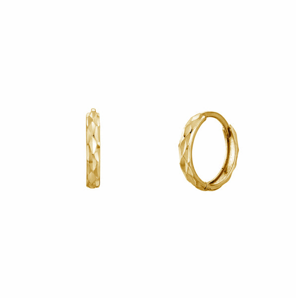 Faceted-Cuts Svelte Huggie Earrings (14K) Popular Jewelry New York