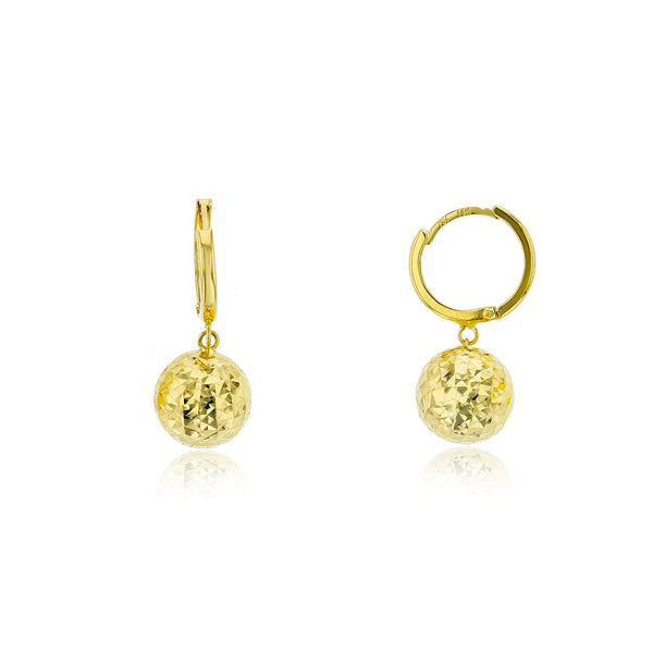 Faceted Ball Dangling Huggie Earrings (14K)