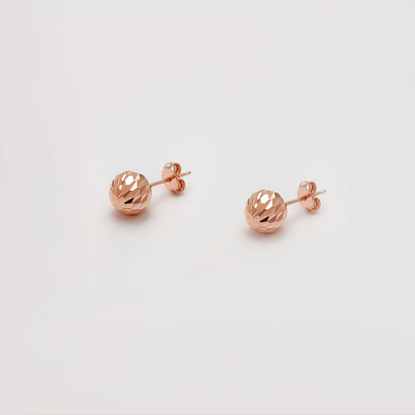 Faceted Cut Ball Stud Earrings (10K) Popular Jewelry New York