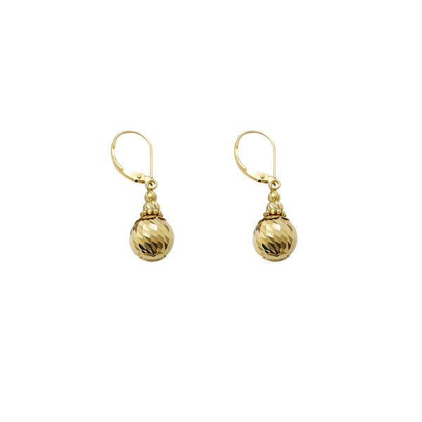 Faceted Cut Balls Drops Earrings (10K) Popular Jewelry New York