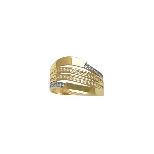 Fancy Pave Curved Stripes Ring (14K)