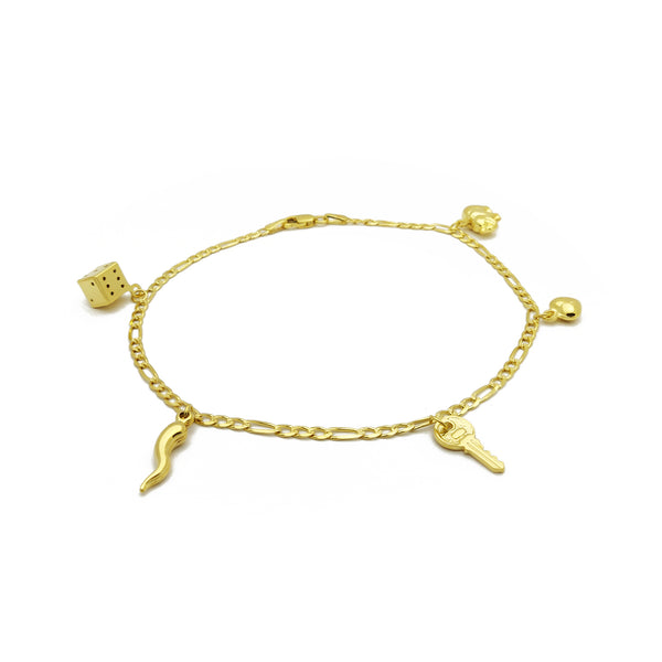 Fancy Multi Mini Figures Anklet (14K) 14 Karat Yellow Gold, Dice, Italian Horn. Key, Heart Elephant, Popular Jewelry New York