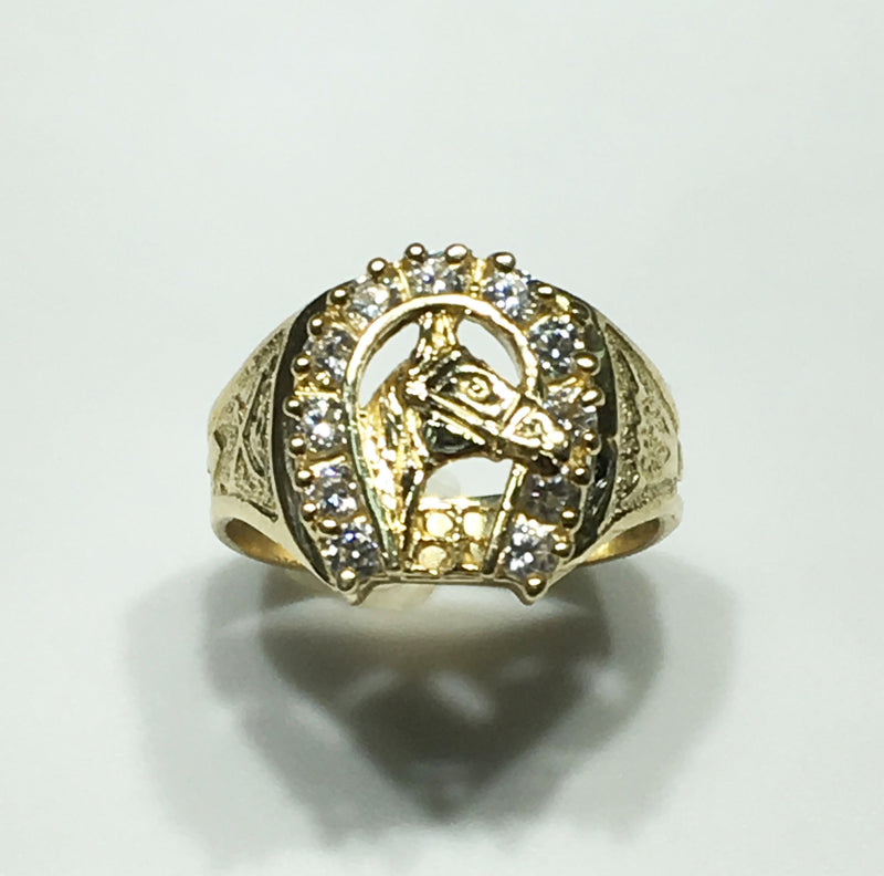 Horse Head Men's Ring 14K (CZ Horseshoe) - Popular Jewelry