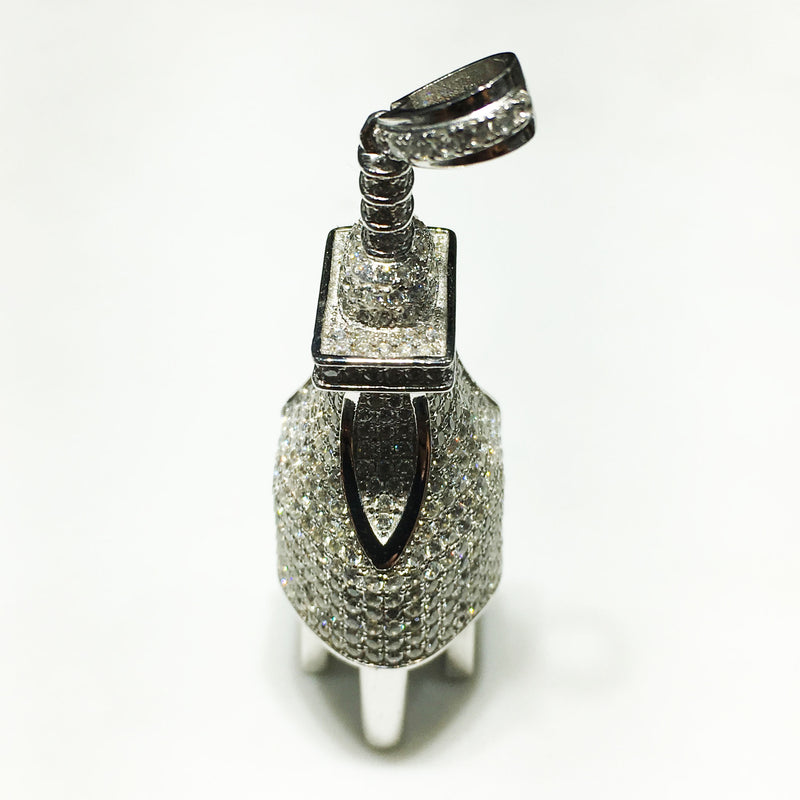 Iced-Out Plug (NEMA 5-15 Type-B) Pendant Silver - Popular Jewelry
