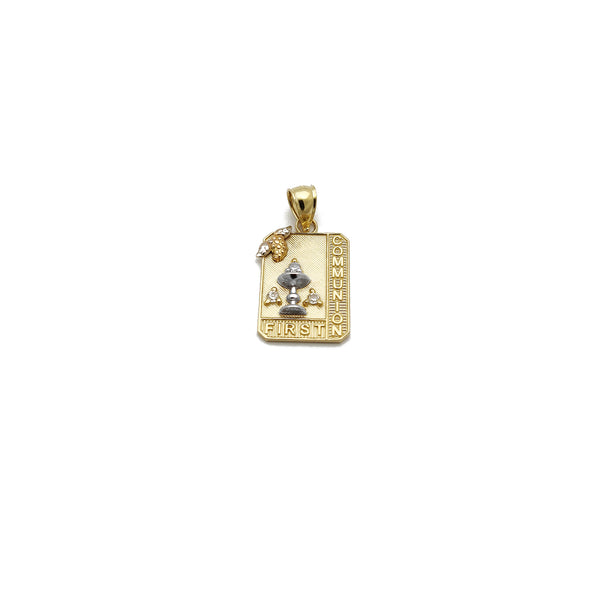 Colgante First Communion CZ (14K) Oro amarillo de 14 quilates, oro blanco, dos tonos, Popular Jewelry New York