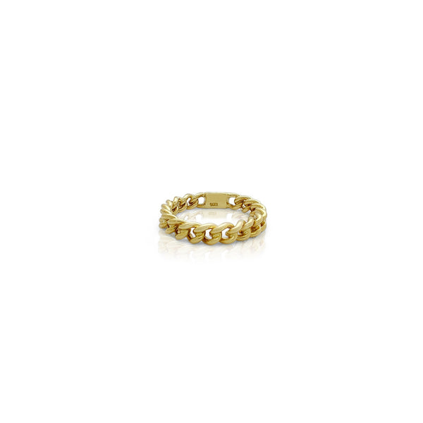 Miami Cuban Ring (14K) front - Popular Jewelry - New York