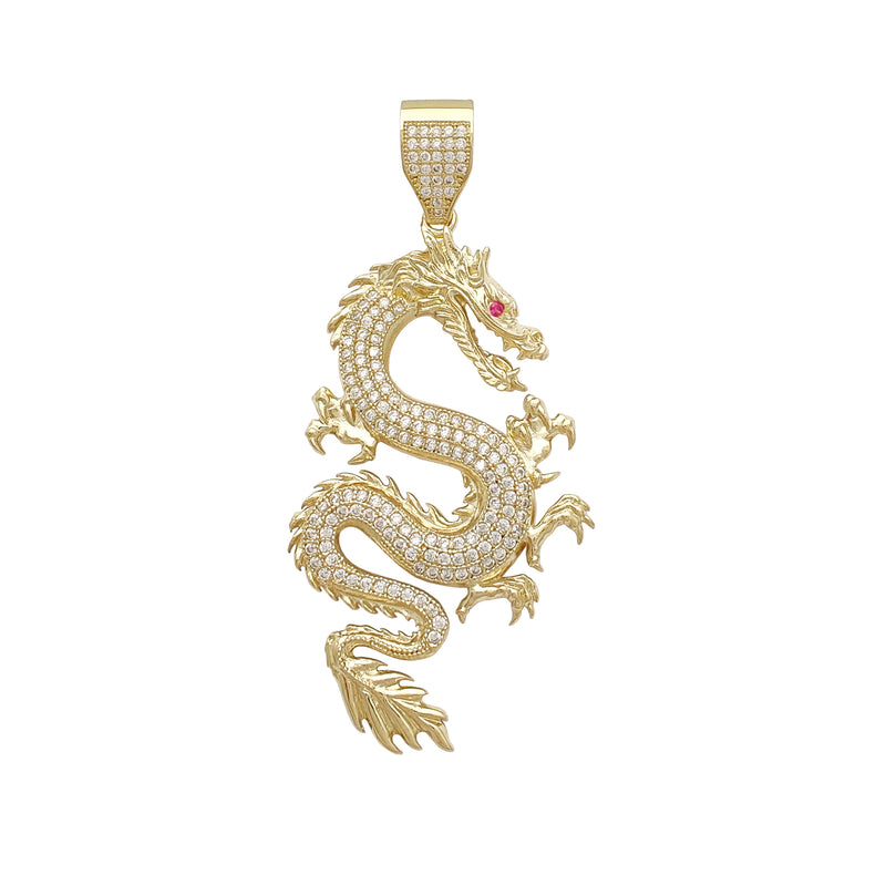 Textured Icy Dragon Large Pendant (14K) Popular Jewelry New York