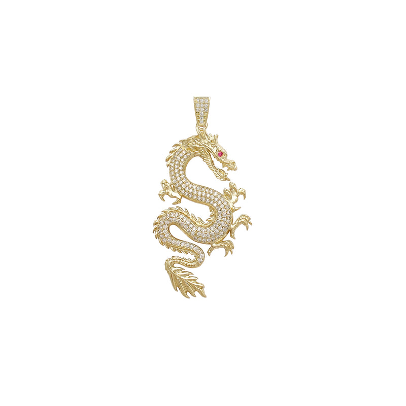 Textured Icy Dragon Small Pendant (14K) Popular Jewelry New York