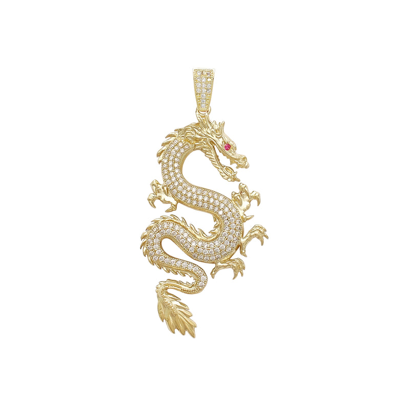 Textured Icy Dragon Medium Pendant (14K) Popular Jewelry New York