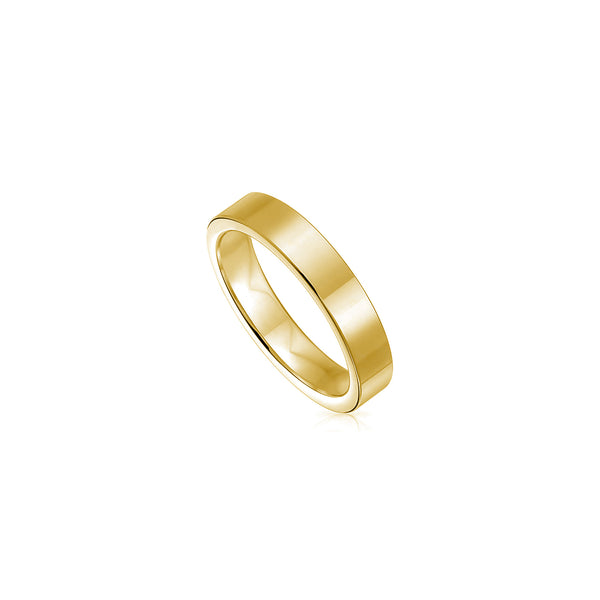 [4 mm] Solid Flat-Shank Wedding Band Ring (14K) Popular Jewelry New York