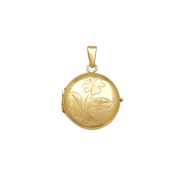 Flower Design Round Locket Pendant (14K) Popular Jewelry New York