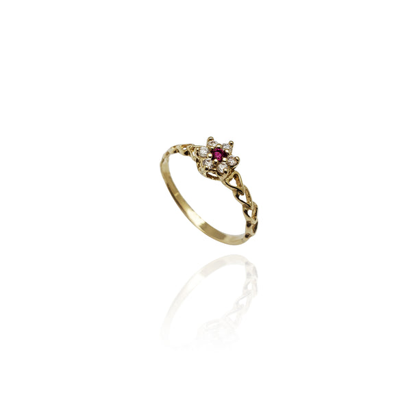 Heart Braid Accent CZ Flower Ring (14K)