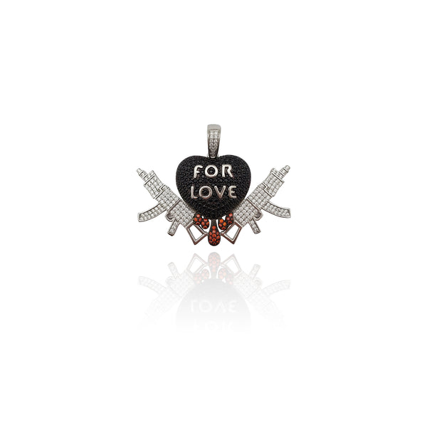 For Love Dripping Heart Gun Pendant (Silver) New York Popular Jewelry