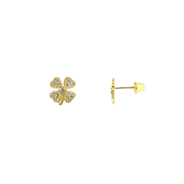 Four-Leaf Clover Stud Earrings (14K) Popular Jewelry New York