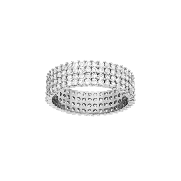 Four-Row Pave Eternity Ring (Silver) Popular Jewelry New York