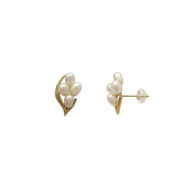 Leaf Four Pearl Earrings (14K)