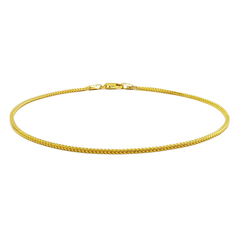 Bracelet de cheville Franco (14K) Or jaune 14 carats, Popular Jewelry New York