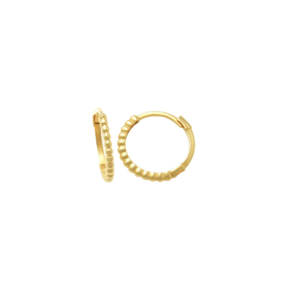 Gold Ball Huggie Earrings (14K)