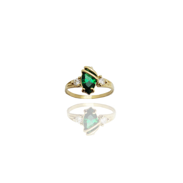 Marquise-Cut Gemstone Crossover Bar Ring (14K)