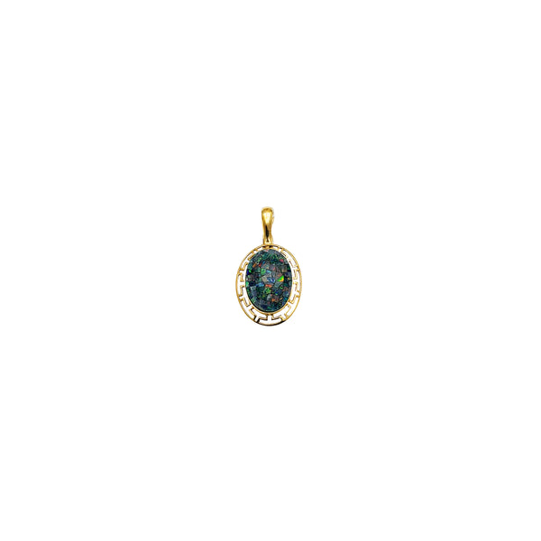 Oval Shape Blue Opal Greek Key Frame Pendant (14K)