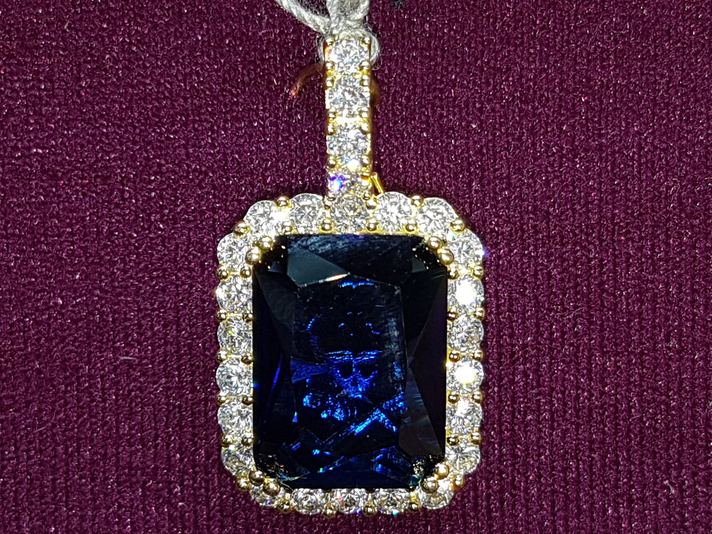 Gemstone-Rectangle-Blue-cubic-zirconia-Pendant-Silver-Front