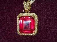 Gemstone-Red-Square-CZ-cubic-zirconia-Pendant-14-karat-Gold-front-view